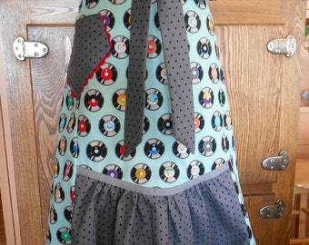 Vintage Style Half Apron with Retro Vinyl Records Print