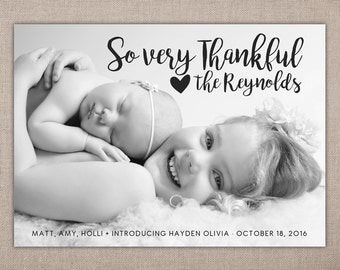 SO VERY THANKFUL - Birth Announcement Printable, Birth Announcement with Photo, Birth Announcement with Sibling, Birth Announcement Cards