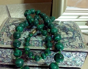 "Statement Necklace ,Boho Necklace, Handknotted Green Malachite Necklace Vintage  Beads 22"" African Malakite Necklace"