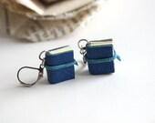Small Book Earrings, Tiny Journal Earrings, Blue Leather, Wearable Books, Mini Books, Book Lover, Small Book, Literary Jewelry, Book Worm