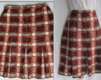 1960s wool plaid skirt, box pleats