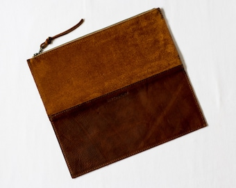 Foldover Clutch - Rust Suede & Henna Brown Leather