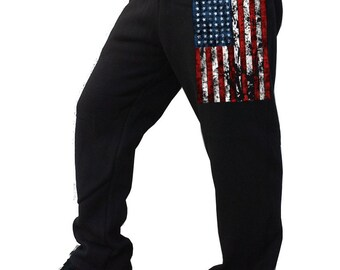 American Flag  Men's Fleece Sweatpants Black S-2XL