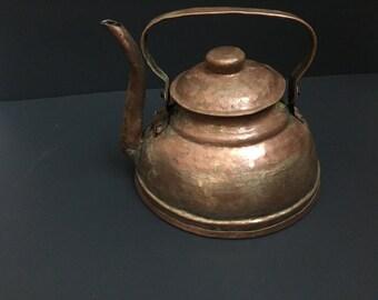 Handmade Hammered Copper  Large Tea Kettle
