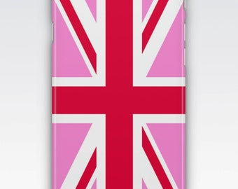 Case for iPhone 8, iPhone 6s,  iPhone 6 Plus,  iPhone 5s,  iPhone SE,  iPhone 5c,  iPhone 7  - Pink Union Jack Flag Design