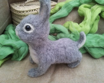 Felting hand made rabbit LUNA . COLLECTIBLE TOYS.