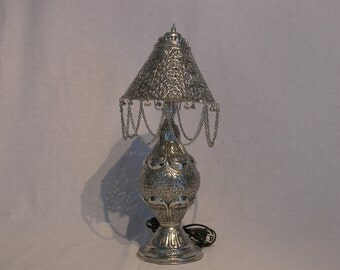 Handmade/Antique/Vintage Indian Beaded & Chain brass table lamp