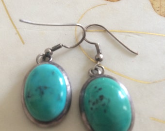 Vintage Sterling Chrysocolla Earrings.