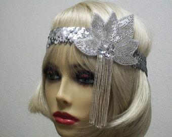 Flapper Headband, Gatsby Headband, 1920s Headband, Flapper Headpiece, Art Deco Headband, Silver Sequin Headband, 1920s Hair Accessory