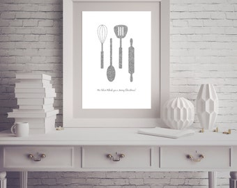 Instant Download - Kitchen Art Silver Glitter Whisk Spoon Spatula Rolling Pin - Poster Wall Art Card Home Decor Typography Word Quote
