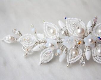Beaded Bridal Headband, Wedding headpiece, Pearl and Swarovski Crystal Elements, Beaded Headband, OOAK