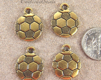 Soccer Ball Charms, TierraCast, Double Sided Charms, Sport Charms, Antiqued Gold Plated Lead Free Pewter, 4 Pieces, 6326