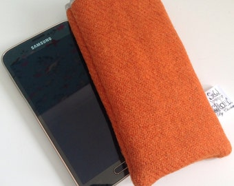 Smart phone pouch / case in orange Harris tweed.