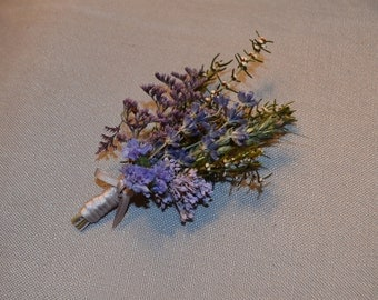 Wedding Boutonniere, Blue Boutonniere, English lavender and Lavender preserved flowers  -  Can be Custom Made to Order
