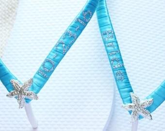 Personalized bride shoes wedding date. Wedding flip flops. Turquoise satin Silver glitter wording. Custom wedding sandals. Bride Flip flops