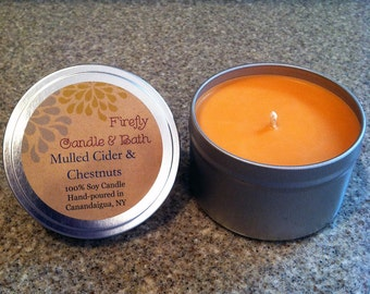 Mulled Cider and Chestnuts - 6 oz. Scented Soy Candle Tin