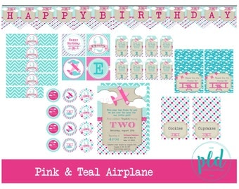 Pink & Teal Airplane Birthday Printable Party Package, Pink Airplane Birthday Party, Pink Airplane, Girl Airplane Birthday, Up Up and Away