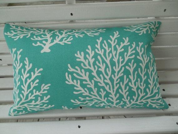 Beach Coral Outdoor Pillow Cover Teal Aqua Navy Coastal Patio