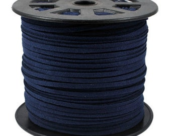 15ft Dark Blue Faux Suede Cord 3mm ( No.118)