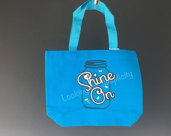 Shine On Tote Bag with Mason Jar and one with Lightening Bug