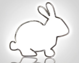 Metal Bunny Outline, Metal Rabbit Outline, Bunny Sculpture, Metal Wall Art, Metal Animal Art, Cute Bunny Decor, Bunny Lover, Rabbit Lover
