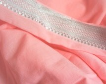 2 yards of Vintage Cotton Batiste Fabric- Pink with Silver Metallic Border