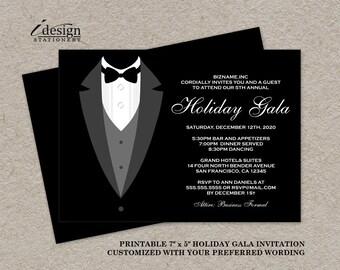 Holiday Gala Invitation | DIY Printable Tuxedo Invitations | Personalized Black Tie Event Invites | Black And White Party Invitations