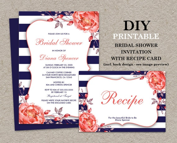 Postcard Wedding Shower Invitations: Navy And Coral Bridal Shower Invitation With Recipe Card