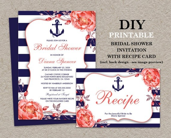 Postcard Wedding Shower Invitations: Nautical Bridal Shower Invitation With Recipe Card Printable
