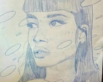 Original blue pencil drawing
