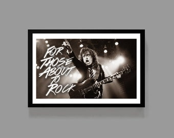 Angus Young AC/DC Poster Print - For those about to rock - Colorful, rock, music, home, decor