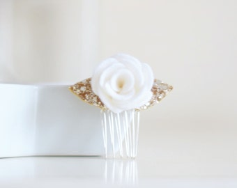 Flower hair comb, wedding hair accessories | bridal hair flower made with 100% white wool felt