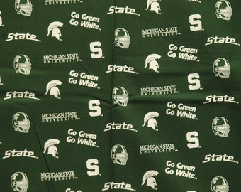 """Michigan State Spartans Football Green Sheeting Fabric Cotton 4 Oz 44-45"""""""