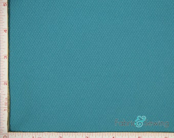 Teal Blue Dimple Mock Mesh Sport Fabric 2 Way Stretch Polyester 6.5 Oz 58-60""