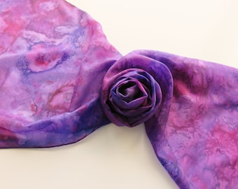 "Hand painted silk scarf. Handpainted silk scarf. Purple silk scarf. 14 x 71"",  35 x 180 cm."