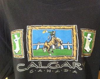 Calgary Canada T-Shirt  Vintage Cowboy Stampede T-Shirt Size Large
