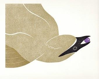 Cedar Waxwing 4 color linocut print