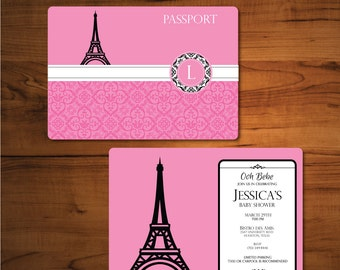 Parisian Invitation-French Themed Invitation-Paris Passport Invitation- Passport Invitation- Parisian Theme