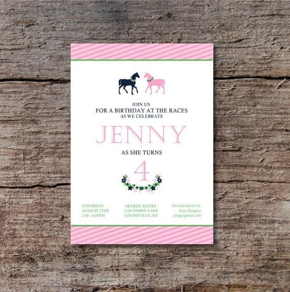 Derby Birthday Party Invitation Horse Birthday Party Invite