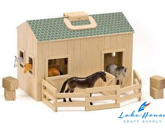 SALE Wooden Horse Stable or Animal Barn with Carry Handle and Horses, Plain Wood Barn Stable Animal Barn