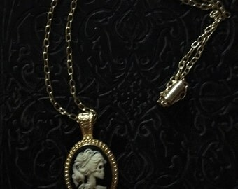 """Skull Cameo Necklace Gold plated 18"""" length with magnetic clasp"""