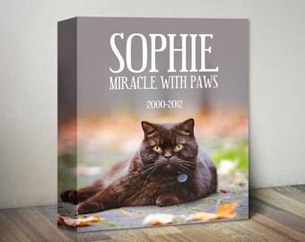 Cat Memorial Canvas Print, Pet Photo Memorial Canvas Art, Custom Cat Canvas, Pet Memorial Print, Cat Gift, Personalized Cat Picture Photo
