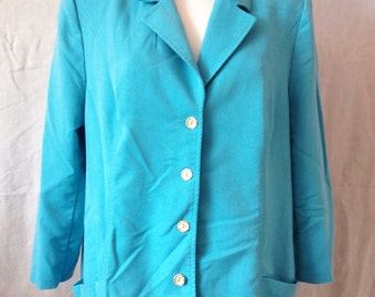 Jacket / Blazer vintage, turquoise blue, Karting, T 44 / 46.