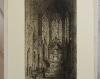 J Alphege Brewer Original vintage drypoint etching Liverpool Cathedral The Lady Chapel American listed artist framed  Freight cost extra