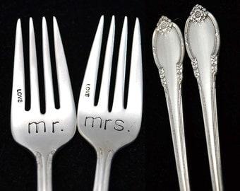 Vintage Hand Stamped Forks Wedding Silverware Engraved Mr Mrs Fork Engagement Gift Dessert Forks Something Old Gift For Couple