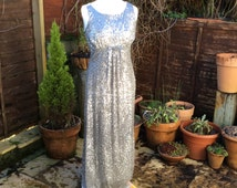 Vintage UK14 US10 EU42 silver sequinned evening gown.