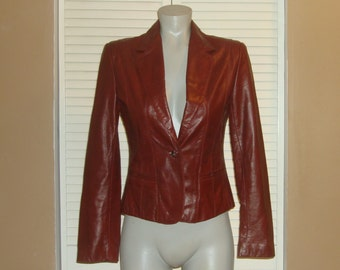 Vintage WILSONS Burgundy Soft LEATHER Fitted BLAZER Jacket~S~