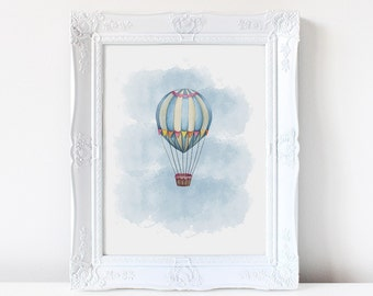 Hot air balloon watercolor, Nursery art, watercolor print, children's art, wall art, nursery print, balloons