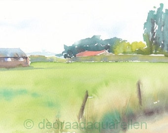 Farmhouse in Brabant. Dutch landscape. Original watercolour.