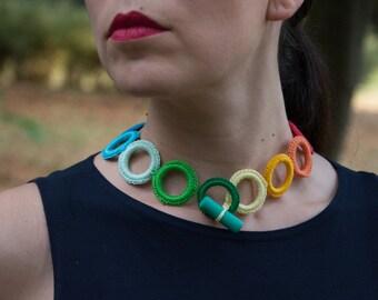 ainbow crochet necklace - Fiber necklace - modern crochet necklace cotton - rainbow color - rings very light